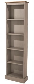 Corona Grey Washed Tall Narrow Bookcase