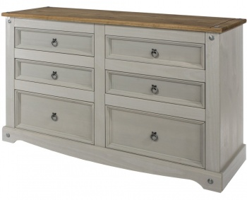 Corona Grey Washed 3 + 3 Drawer Wide Chest