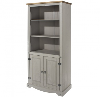 Corona Grey Washed 2 Door Bookcase