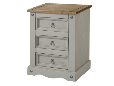 Corona Grey 3 Drawer Bedside Cabinet