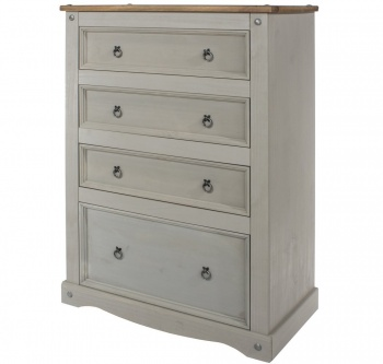 Corona Grey Washed 4 Drawer Chest