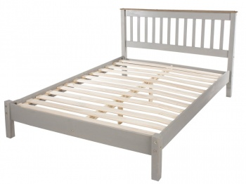 Corona Grey Washed Double Bed Frame - Low End