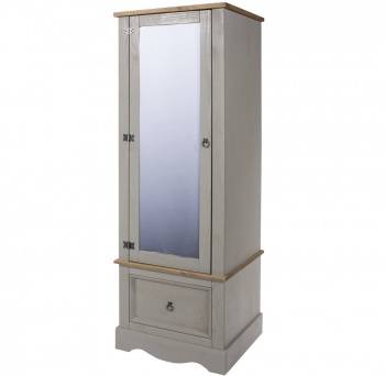 Corona Grey Washed Single Wardrobe with Mirrored Door