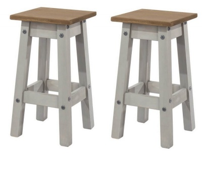 Corona Grey Washed Low Kitchen Stool - Pair