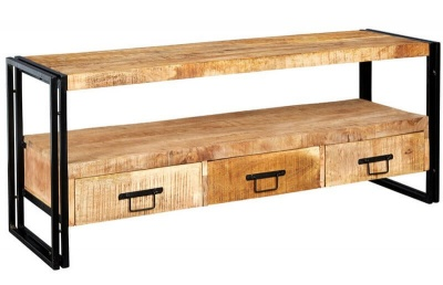 Cosmo Industrial Large Plasma TV Stand - Reclaimed Wood/Dark Metal