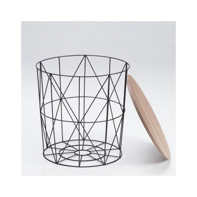 Cosmo Cage Side Table Black With Oak Finish Top