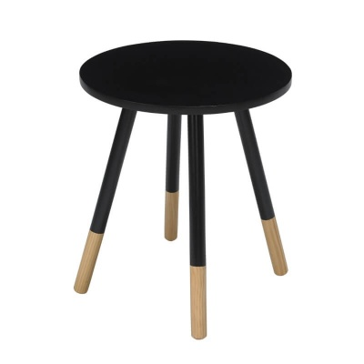 Costa Round Modern Side Table - Black