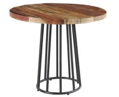 Coastal Round Dining Table  - Rustic Reclaimed Wood with Metal Base