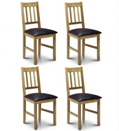 Coxmoor Solid Oak Dining Chairs with Brown Faux Leather Seat - Set of 4