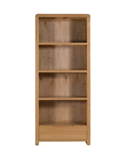 Curve Oak Tall Bookcase with Drawer - Waxed Oak