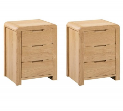 Curve 3 Drawer Bedside Table - Set of Two - Waxed Oak