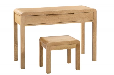 Curve 2 Drawer Dressing Table & Stool Set   - Waxed Oak