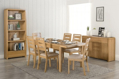 Curve Extending Dining Table with 6 Dining Chairs Set - Waxed Oak