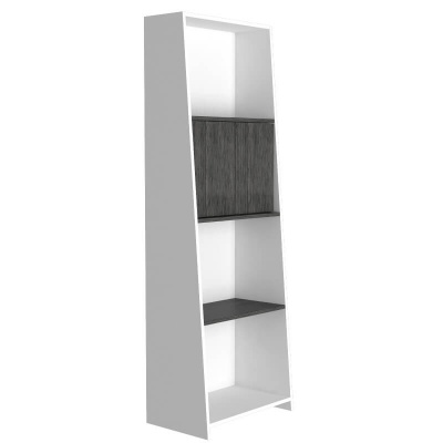 Dallas White & Carbon Bookcase with Doors