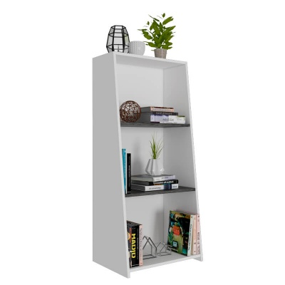 Dallas White & Carbon Low Bookcase