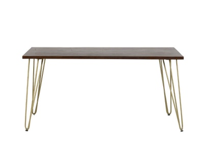 Dark Gold Rectangular Dining Table 160 cm - Wood & Metal