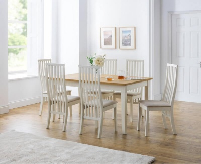 Davenport Extending Dining Table & 6 Vermont Chairs - Ivory & Oak