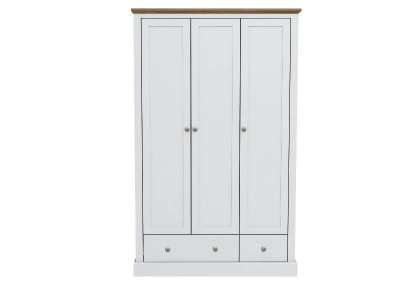 Devon 3 Door 2 Drawer Wardrobe White