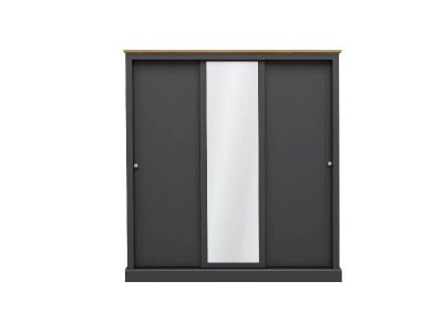 Devon 3 Door Sliding Wardrobe with Mirror - Charcoal