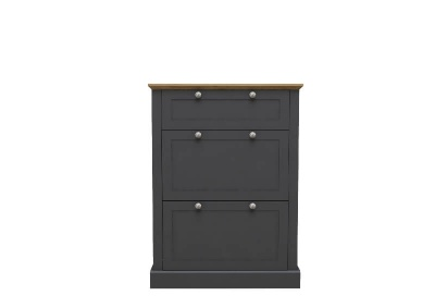 Devon 3 Tier Shoe Cabinet - Charcoal