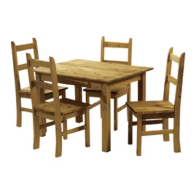 Ecuador Pine Rectangular 114 cm Dining Table with Four Chairs