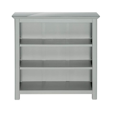 Elgin Grey Painted Low Bookcase with Glass Top