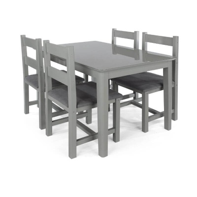 Elgin Grey Painted Dining Table & Four Dining Chairs Set