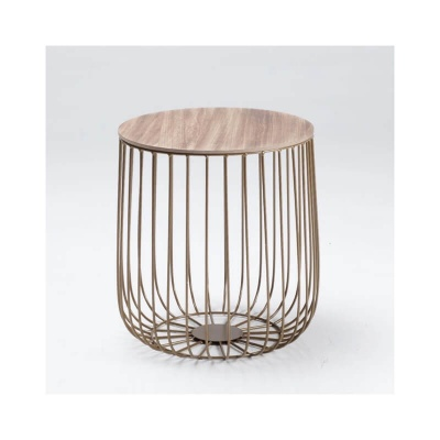 Enzo Small Cage Lamp Table with Gold Frame and Oak Top