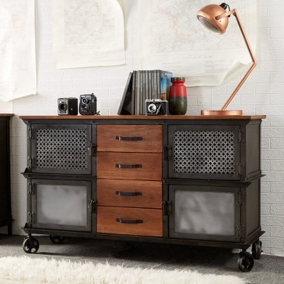 Evoke 4 Drawer Sideboard - Aged Metal & Solid Wood