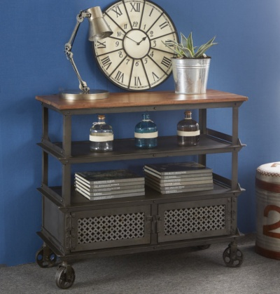 Evoke Console Table - Aged Metal & Solid Wood