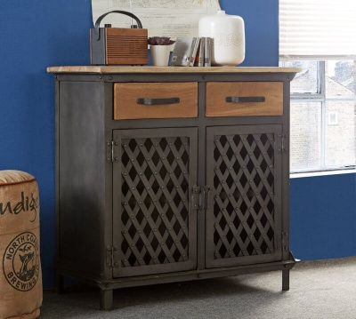 Evoke 2 Door Small Sideboard - Aged Metal & Solid Wood