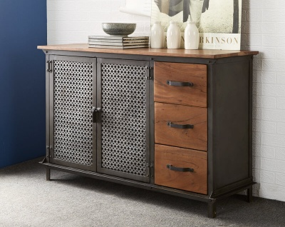 Evoke 3 Drawer Sideboard - Aged Metal & Solid Wood