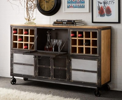 Evoke Bar Cabinet - Aged Metal & Solid Wood