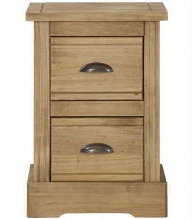Fara Waxed Pine 2 Drawer Compact Bedside Table