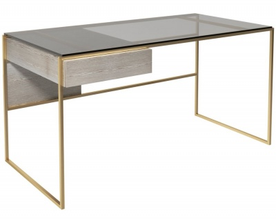 Federico Brushed Brass Desk