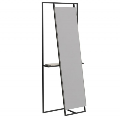 Federico Floor Standing Mirror and Valet in Black with Weathered Oak Accent