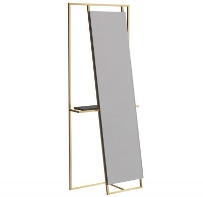Federico Floor Standing Mirror and Valet with Brass Frame with Black Accent