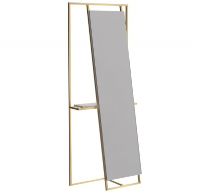 Federico Floor Standing Mirror and Valet with Brass Frame with Weathered Oak Accent