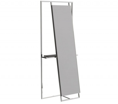 Federico Floor Standing Mirror and Valet with Chrome Frame with Black Accent