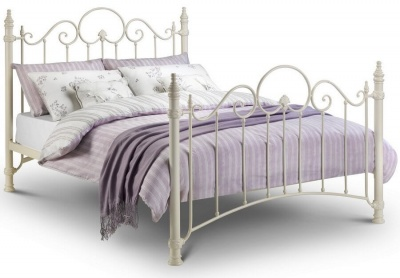 Florence Stone White Metal Bed Frame - King-Size