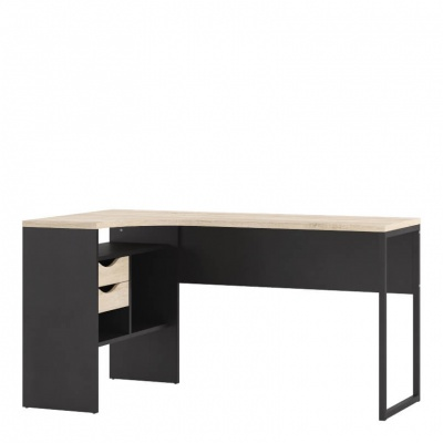 Function Plus Corner Desk 2 Drawers in Black Matt and Oak Effect