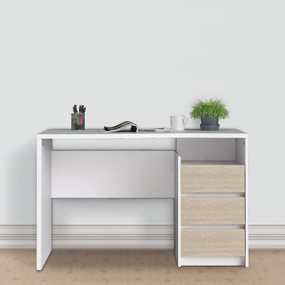 Function Plus Desk 3 drawers White Oak Finish