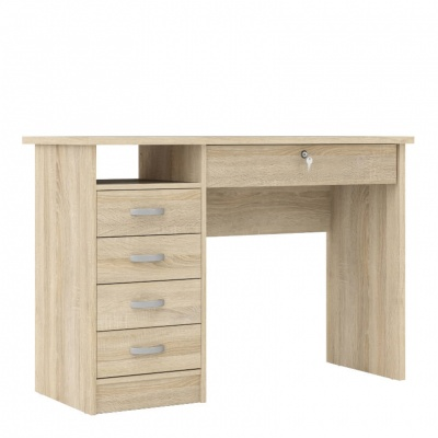 Function Plus Desk 5 Drawers in Oak Effect Finish