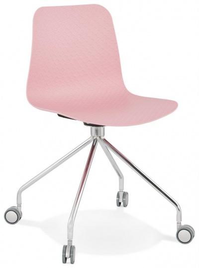 Funky Pink Plastic Seat Office Chair with Chrome Swivel Base