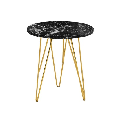 Fusion Lamp Table Black Marble Effect with Gold Wired Legs