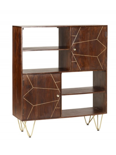 Dark Gold Display Cabinet - Wood & Metal