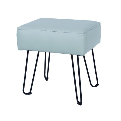 Grey PU Upholstered Rectangular Stool with Black Metal Legs