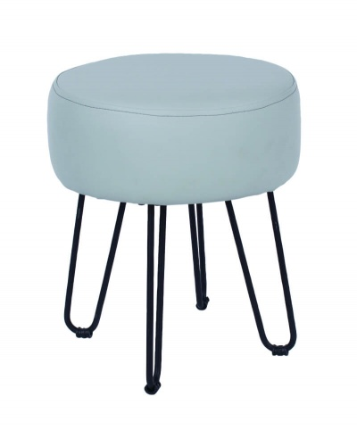 Grey PU Upholstered Round Stool with Black Metal Legs