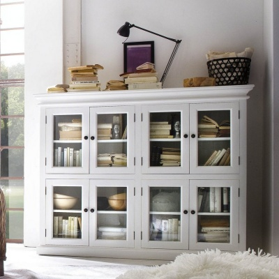 Halifax White 2 - Level Pantry with 8 Doors