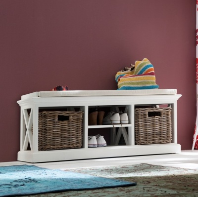 Halifax White Bench & Basket Set (excluding cushion)